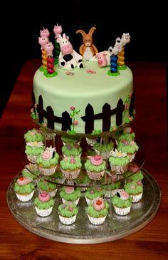 Farm Cake & Mini Cupcakes  on Cake Central