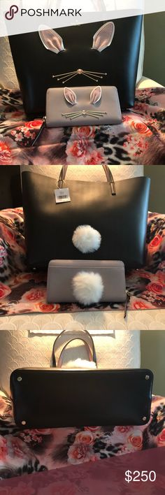 "NEW NWT Kate Spade ♠️Hop to It Tote / Wallet Combo NEW NWT Kate Spade ♠️Rabbit Little Len Hop To It Tote Bag. (WKRU4756). Open tote with interior zipper. Leather.  Dimensions: 11.7"" x 12.9"" x 5.5"" dual handles with drop length 7.9"".  NEW Kate Spade ♠️ Rabbit Neda Hop To It Wallet. (WKRU3200) Nouveau Neutral Wallet.  Zip around wallet with 16 credit card slots. Holds phone and checkbook.  Dimensions: 8"" x 4"" x 1"".  Both are brand new with tags. kate spade Bags Totes"