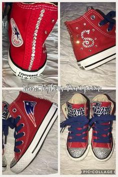 c0a4e0d3d44c Girl s BLING CONVERSE (PATRIOTS)  BLING SNEAKERS  CRYSTAL SNEAKERS  BLING  SHOES