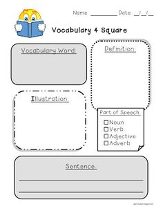 vocabulary words template