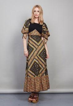 Vintage 70's black floral maxi dress