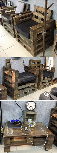 Here comes an attractive and favorable piece of wood pallet chairs and table designing that is all g Wooden Pallet Furniture, Wooden Pallets, Pallet Chairs, Diy Pallet Projects, Pallet Ideas, Furniture Dolly, Cool Furniture, Furniture Showroom, Pallet Kitchen Cabinets