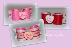 5/8 Valentine Message Heart Dog Bows - 1 pc (Your Choice) by BellasDogBows, $7.99 USD