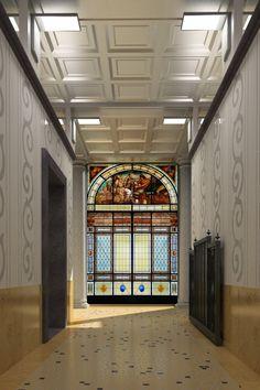 -- Via Quintino Sella 2, Milano -- Una delle vetrate interne
