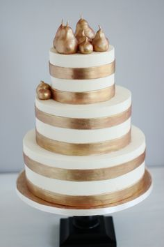 Golden Striped Cake with Pear Accents Metallic Cake, Metallic Wedding Cakes, Cupcakes, Cupcake Cakes, Gorgeous Cakes, Amazing Cakes, Southern Wedding Cakes, Country Weddings, Wedding Anniversary Cakes