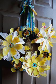 Flower wreath made from plastic bottles
