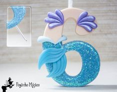 Little Mermaid Candle Holder, Cake Topper Number Cake Toppers, Fondant Toppers, Little Mermaid Birthday, The Little Mermaid, Fondant Numbers, Fondant Decorations, Mermaid Cakes, Mermaid Parties, Cold Porcelain