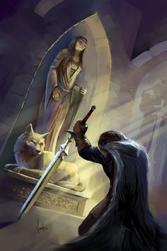 Ned Stark at the Winterfell crypts, kneeling down before the statue and grave of his sister, Lyanna Stark