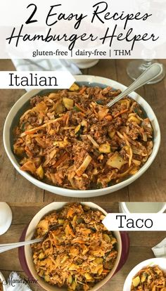 2 Easy Hamburger Helper Recipes. Quick, easy and one-pot meals for a delicious and healthy supper. #easymeals #trimehealthymama #glutenfree #dairyfree #groundbeefrecipes