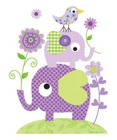 Loving this Purple Elephant & Flower Print on #zulily! #zulilyfinds