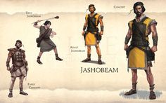 Jashobeam page from FIVE: Guardians of David Art Book Ancient Armor, Ancient Myths, Ancient History, The Elder Scrolls, Bible Stories, Great Stories, Guardians Of Ga'hoole, Ancient Near East, Fantasy Portraits