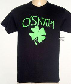 NEW Black T Shirt OH SNAP ! Mens size MEDIUM Clover Shamrock O'Snap Humor Funny #FifthSun #GraphicTee