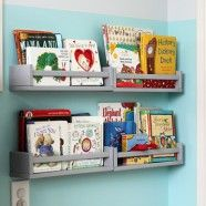 In love with this idea... Using IKEA spice racks as book shelves...