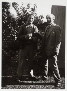 Photograph of Duncan Grant and Roger Fry in the garden at Charleston, West Sussex, 1931
