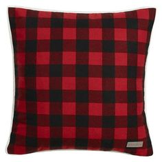 "Cabin Plaid Flannel Sherpa Throw Pillow Red (20""x20"") - Eddie Bauer® : Target"