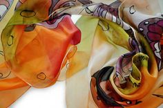 Hand painted silk scarf  Hand Painting butterflies by GABYGA