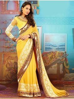 Yellow Georgette Saree With Resham Embroidery And Stone Work www.saree.com