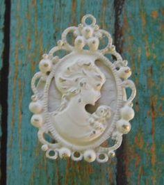 Shabby Vintage Chic Chalk White Cameo Victorian Cabinet Drawer Knob Pull | eBay