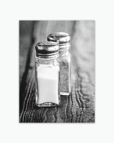 Ready-to-hang wrapped canvas print of salt and pepper shakers, large rustic kitchen wall art print on canvas, sizes 5x7 to 30x40. Title: Salt & Pepper Canvas prints are professionally-stretched onto a