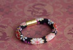 PDF Pattern for beaded crochet bracelet - Seed bead pattern - Black pink bracelet - Asian style - Japanese floral print - Colorful bracelet Crochet Bracelet Pattern, Crochet Beaded Bracelets, Bead Crochet Patterns, Bead Crochet Rope, Beaded Bracelet Patterns, Seed Bead Bracelets, Seed Bead Jewelry, Beading Patterns, Beaded Jewelry
