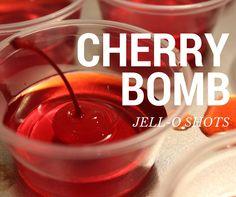 Cherry Bombs - Cherry Jell-O shots made with Fireball Whiskey PERXFOOD.COM 2 ways to enjoy Fireball Jell-O shots for any occasion! Recipe for Fireball Jell-O Shots. Cherry Bomb Jell-O shots and Apple Cinnamon Jell-O shots Fireball Shot, Fireball Drinks, Fireball Recipes, Fireball Whiskey, Jello Shot Recipes, Alcohol Recipes, Drink Recipes, Jello Shots With Fireball, Alcoholic Drinks