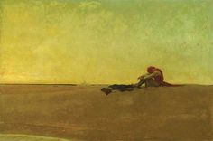 Marooned Howard Pyle 1909  A pirate has been marooned left on an isolated sandbar with neither food nor water only a pistol should he choose to end his life before succumbing to the elements or madness. The entire backdrop of the painting the vast sky and sand is rendered in shades of yellow underscoring the scorching heat from which there is no escape. In its starkness this expansive horizontal composition with a diminutive figure placed asymmetrically on the horizon line exquisitely…