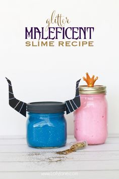 Maleficent glitter slime recipe. Fun activity for kids after seeing the new Sleeping Beauty movie! @lollyjaneblog
