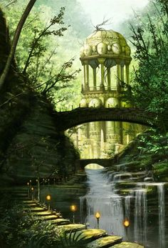 Breathtaking Fantasy Landscapes You Wish Were Real Breathtaking waterfall, and I love the lanterns