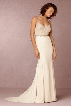 Clean modern wedding dress with subtle embellishment | Irene Wedding Gown from BHLDN