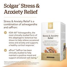Solgar Stress & Anxiety Relief, 30 Tablets - Clinically Studied Ashwagandha & Saffron - Helps Relieve Occasional Stress & Anxiety, Helps Maintain a Positive Mood - Non-GMO, Gluten Free - 30 Servings Stress…it's a part of everyday life. No matter the cause, there's a good chance you've experienced some of its symptoms at some point including occasional anxiety, fatigue, and more.Wouldn't it be great if there was a way to provide herbal-based stress relief in your life? Now, there is w Anxiety Help, Stress And Anxiety, Anxiety Relief, Stress Relief, Stress Causes, Emotional Stress, Cortisol, How To Relieve Stress, Herbalism