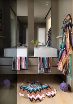 Neutral modern bathroom with Velour bathrobe and towelling MISSONIHOME 2015 17a4213b0