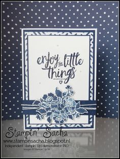 handmade card from Stampin Sacha ... Floral Phrases ...  lots of layers ... like the wider mat for the patterned paper layer ... navy and white ... Stampin' Up!