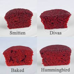 Make the smitten recipe. Just in time for Christmas- I took 4 quality Red Velvet Cake Recipes and compared them to find the best one! Check out the results : ) Red Velvet Cupcakes, Red Velvet Cake Rezept, Red Velvet Cake Moist, Best Red Velvet Cake, Mocha Cupcakes, Cheesecake Cupcakes, Strawberry Cupcakes, Cupcake Recipes, Cupcake Cakes