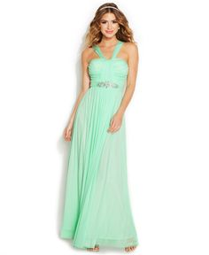 B Darlin Juniors' Embellished Halter Dress - Juniors Shop All Prom Dresses - Macy's (the dress i ended up getting, but removed the bedazzle and the straps)