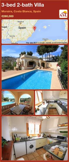 3-bed 2-bath Villa in Moraira, Costa Blanca, Spain ►€280,000 #PropertyForSaleInSpain