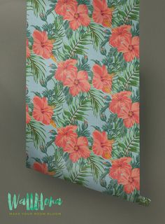 Hibiscus Wallpaper Pattern  Removable Wallpaper  by WallfloraShop