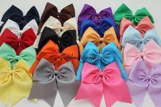 1 white cheer bow  orange cheer bow  royal cheer by cutebows4girls