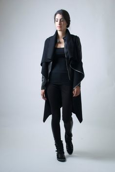 Black High Collar Coat Asymmetrical Vest with by marcellamoda