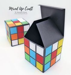 Rubik's Cube gift boxes Hello, all and happy Friday! Today is a very fun and colourful project. Check out these awesome Rubik's Cube Gift Boxes. I got the idea for these from my own giant Rubik's cube that my … Diy Gift Box, Diy Box, Diy Gifts, Gift Boxes, 80s Theme, Creative Box, Rubik's Cube, Gift Baskets, Party Themes