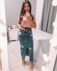 Swans Style is the top online fashion store for women. Shop sexy club dresses, jeans, shoes, bodysuits, skirts and more. Modest Fashion, Hijab Fashion, Boho Fashion, Girl Fashion, Fashion Outfits, Fashion Women, Denim Skirt Outfits, Denim Outfit, Denim Skirts