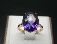 Engagement Ring   5 Carat Amethyst Ring In 14K by stevejewelry, $480.00