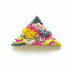 Hand embroidered Triangle Necklace / Grey, Pink, Fuchsia, Salmon, Yellow…