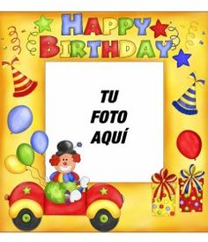 Tarjeta de cumpleaños con marco de fotos rojo, globos y pasteles para - Fotoefectos Birthday Frames, Happy Birthday Pictures, Character, Cute Love, Happy Birthday Text, Happy Birthday Photos, Birthday Congratulations, Lettering, Happy Birthday Pics