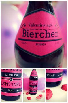 """Dieses Last-Minute Valentinsgeschenk ist wirklich für """"kurz vor knapp""""! Versehe ein Getränk mit Deinem eigenen Etikett!"""