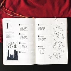Bullet journal weekly layout, New York skyline drawing, geometric drawings. @luneostudy