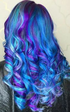 Beautiful blue and purple dyed hair color