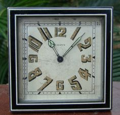Art deco travel or desk alarm clock. Signed Barkan Paris.