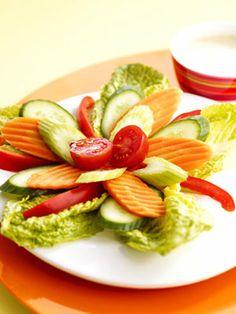 Precut veggies make this pinwheel salad a success!