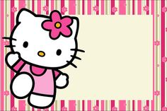 Hello Kitty With Flowers: Free Printable Invitations. - Oh with regard to Hello Kitty Birthday Banner Template Free - Sample Design Templates Hello Kitty Fotos, Hello Kitty Imagenes, Hello Kitty Themes, Printable Birthday Invitations, Party Printables, Free Printables, Hello Kitty Invitation Card, Anniversaire Hello Kitty, Birthday Banner Template