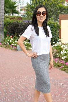 Casual Friday look with grey midi skirt and cargo jacket on Skirt The Ceiling